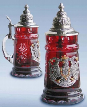 Zoeller & Born Red Crystal Glass Beer Stein